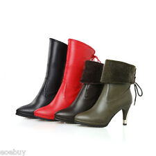 Women's High Heel Synthetic Leather Pointed Shoes Mid Calf Boots US Sz 2~16 O282