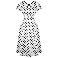 Womens White Polka Dot 1940s Wartime Victory Vintage Pinup Party Tea Dress