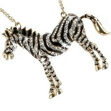 GOLD or SILVER Pave Set Black White Cz Crystal ZEBRA Long Chain Animal Necklace