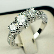 Size 6-9 White Sapphire Silver Wedding Ring 10KT White Gold Filled Jewelry New V