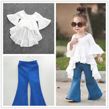 2pc Toddler Kids Baby Girls Outfits Cotton tops+Denim Flared pants Clothes Sets