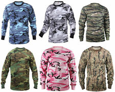 NEW! Camo Long Sleeve Tactical Military T-Shirt Rothco Pink Light Blue Utility