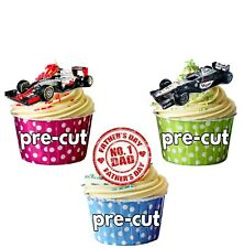 Fathers Day F1 Formula One Themed - Fun Fully Edible Cup Cake Toppers Decoration