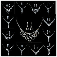 Elegant Wedding Bridal Party Rhinestone Crystal Necklace Earring Jewelry Sets