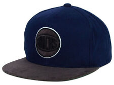 New York Knicks Mitchell and Ness NBA Dark Agent Fitted Cap Hat Blue & Gray NYK