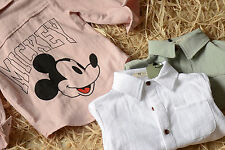 Kid Baby Boys Korea Short Sleeves Mickey Mouse White 100% Cotton Shirts Tops
