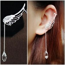 Fashion Angel Wing Crystal Silver Earring Drop Dangle Ear Stud Cuff Clip Jewelry