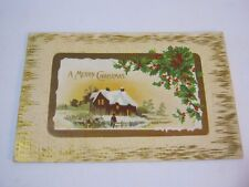 A Merry Christmas Embossed 1916 Postcard with Country Snow Scene  T*