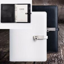 A5 Loose Leaf Leather Hasp Notebook Diary Travel Plan Calendar Schedule + Pen #B