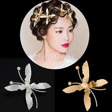 Butterfly Bridal Wedding Flower Pearls Women Headband Hair Clip Barrette Jewelry