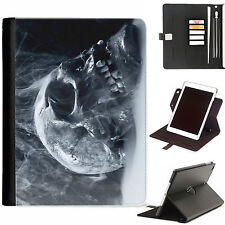 Skull Scary Luxury Apple ipad 360 swivel i pad leather case cover with card slot