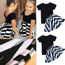 Girls Summer Dress Outfits Short Sleeves T-shirt with Black White Striped Skirt