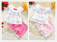 2PCS Baby clothes infant baby girls clothing summer clothes layered top&shorts