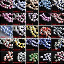 10/20/50 Loose Flowers Round Ceramic Clay Porcelain Beads Jewelry Findings 10mm