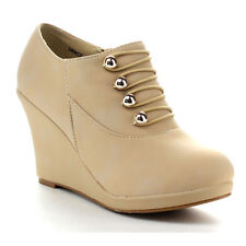 Beston CB60 Women's Retro Platform Wedge Heel Side Zipper Ankle Booties
