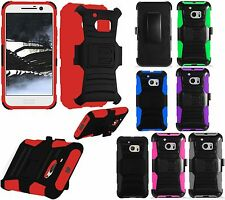 For HTC 10 Hybrid Combo Holster KICKSTAND Clip Rubber Case Cover + Screen Guard