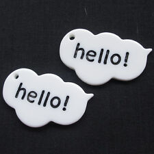20/100pcs Hello Talk White Resin Flatback Flat Backs Scrapbooking Craft B0504