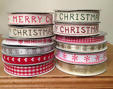 Gisela Graham Merry Christmas Ribbons Snowflake Ribbon - 1 or 3 metres