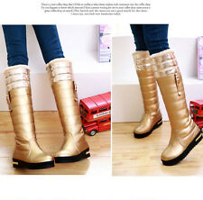 New Women's PU Leather Fur Round Head Thigh High Slouchy Flat Heel Boots Shoe
