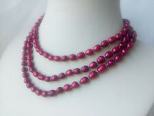 long variations color genuine cultured rice freshwater pearl necklace USA BY EUB