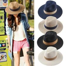 Straw Hat Sun Beach Cap Pinched Panama Women Men Fedora Hat Unisex Summer E6W1