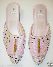Sequin Beaded Slippers Shoes Women US Sz 4-12 PINK Lite  376