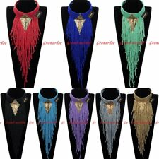 Fashion Jewelry Chain Resin Seed Beads Tassels Choker Pendant Bib Long Necklace