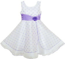 Flower Girl Dress Polka Dot Flower Tulle Pageant Unique Design Purple Size 4-12