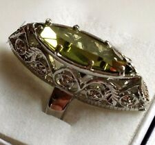 Rhodium Plated Peridot Cocktail Ring Green Cubic Zirconia Marquis Size 6 7 8 9