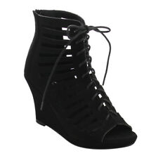 Top Moda CB85 Women Peep Toe Lace Up Cut Out Gladiator Wedge Heel Ankle Booties