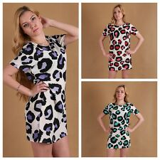 Women's Cool Short Sleeve Leopard Printed Slim Cocktail Party Shirt Dress S-XL