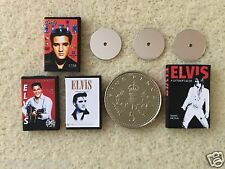 "DOLLS HOUSE MINIATURE THREE ""ELVIS PRESLEY"" DVD's & BOOK Handmade 1:12th scale"