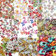 100/50pcs Mixed Colored Drawing Wooden Buttons for Sewing Scrapbooking DIY Craft