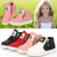 Toddler Kids Girls Boys Casual PU Leather Trainers Ankle Martin Boots Zip Shoes