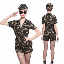 Women Ladies US Army Solder Girl Cosplay Costume Captain Commando Combat Outfit