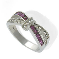 Purple Amethyst & CZ Criss Cross Ring Band Black Gold plated Jewelry Size 6-10