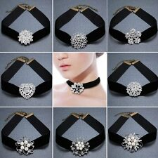GOTHIC VELVET WOMEN WEDDING SILVER CRYSTAL BROOCH PIN PENDANT CHOKER NECKLACE