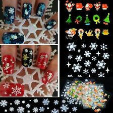 Christmas Snowflakes,Stars,Bows,Snowman, French Tips Nail Art Stickers 3D