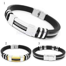 High Quality Mens Stainless Steel Silicone Punk Wristband Bangle Bracelet