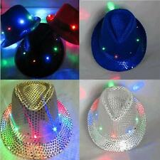 Flashing Light Up Led Fedora Trilby Sequin Unisex Fancy Dress Dance Party Hat AA