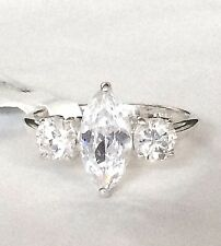 Silver Engagement Ring Marquis Cut Cubic Zirconia Triplet Sterling 925 Size 9 10