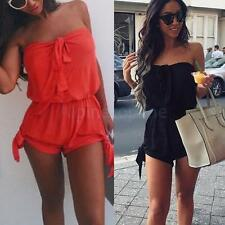 8-16 Sexy Womens Lace Off shoulder Playsuit Summer Ladies Dress Jumpsuit Shorts
