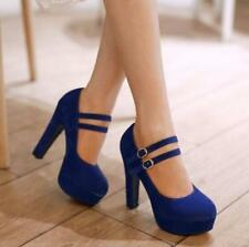 Plus Size Womens chunky high heel platform faux suede strap pumps shoes heels