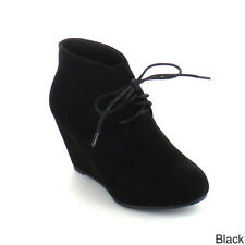BELLA MARIE SALLY-5 Women Adorable Almond Toe Lace up Wedge Ankle Bootie