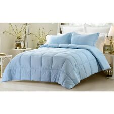3PC REVERSIBLE SOLID EMBOSS STRIPED COMFORTER SET- OVERSIZED OVERFILLED BLUE