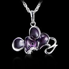 Women's Mary's Mouse Animal Crystal Sweater Long Chain Pendant Necklace Jewelry