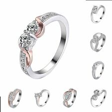 18K Cz Silver Rings Sapphire Women Wedding Engagement Crystal Jewelry Size 7-9
