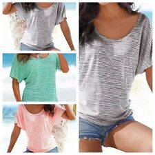 Hot Fashion Women Striped T-shirt Batwing Short Sleeve Loose Tops Blouse Summer