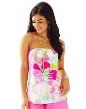 NWT Lilly Pulitzer Strapless Flamingo Pink DON'T GIVE A CLUCK TYRA Tube Top XS S
