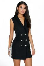 Boohoo Womens Boutique Aria Button Detail Sleeveless Blazer Dress